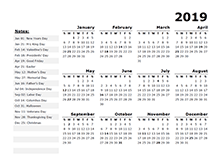2018 OpenOffice yearly calendar template