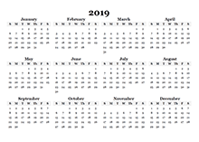 2019 yearly blank calendar template