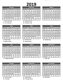 2019 business calendar with week number