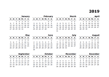 Printable 2019 yearly blank calendar