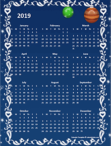 2019 Yearly Calendar Design Template