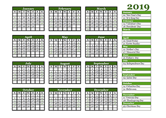 Free 2019 Yearly Calendar Download Printable Annual Calendar Templates