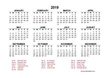 2019 Hong Kong calendar template with public holidays