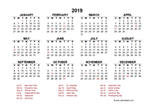 2019 Singapore calendar template with public holidays
