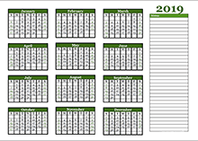 2019 yearly calendar template with blank notes