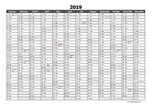 2019 Excel Calendar Download Free Printable Excel Templates