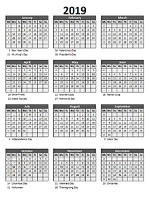 Editable 2019 Yearly Spreadsheet Calendar