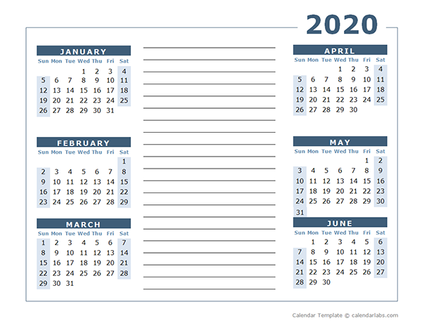 Blank Two Page Calendar Template for 2020