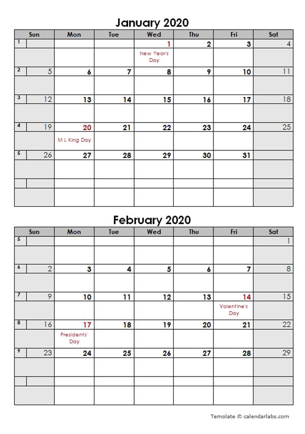 2020 Two Months Word Calendar Template