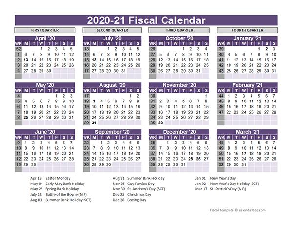 UK Fiscal Calendar Template 2020-21