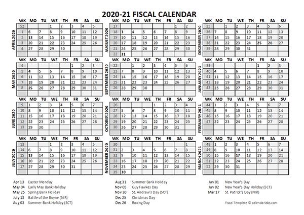 2020 Fiscal Calendar Template Starts at April