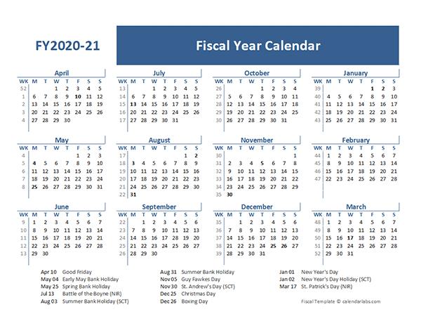 2020 Fiscal Year Calendar Template UK