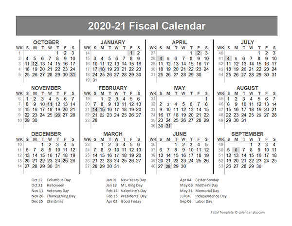 2020 Fiscal Year Quarters Template