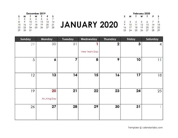 2020 Three Months Printable Word Calendar