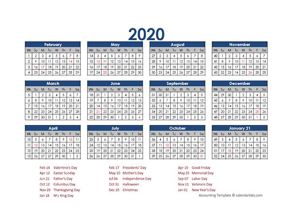 2020 Accounting Calendar 4-5-4