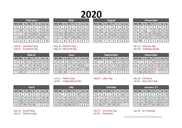 2020 Accounting Calendar 5-4-4