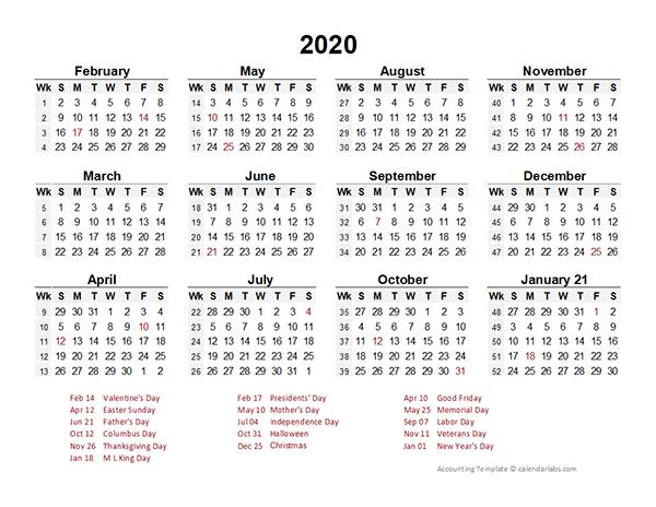 2020 Accounting Period Calendar 4-4-5