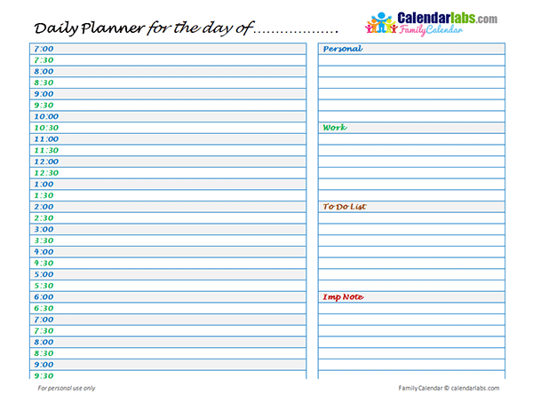 2020 Family Daily Planner - Free Printable Templates