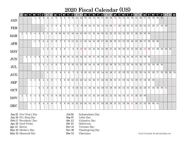2020 Fiscal Calendar USA