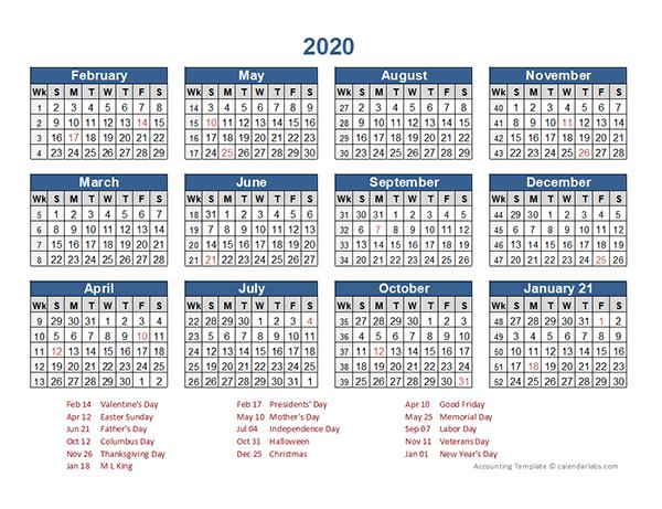 2020 Retail Accounting Calendar 4-4-5