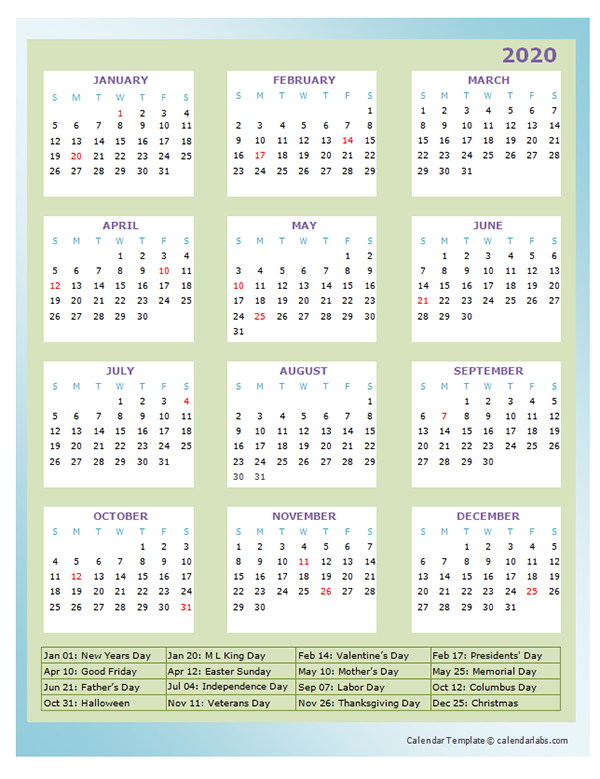 2020 Annual Calendar Design Template