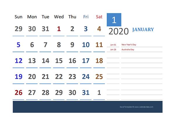 2020 Australia Calendar for Vacation Tracking