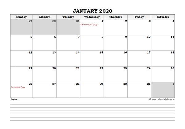 2020 Australia Monthly Calendar with Notes