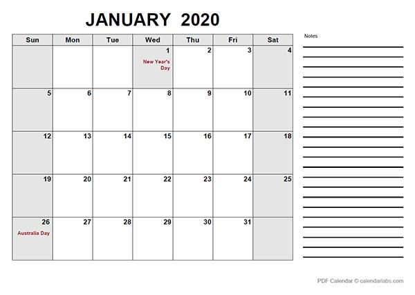 2020 Australia Free Calendar PDF Template