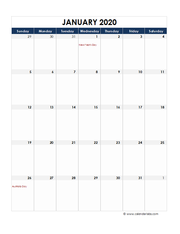 2020 Australia Monthly Excel Calendar