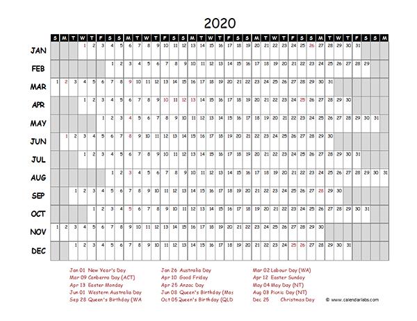 2020 Australia Project Timeline Calendar