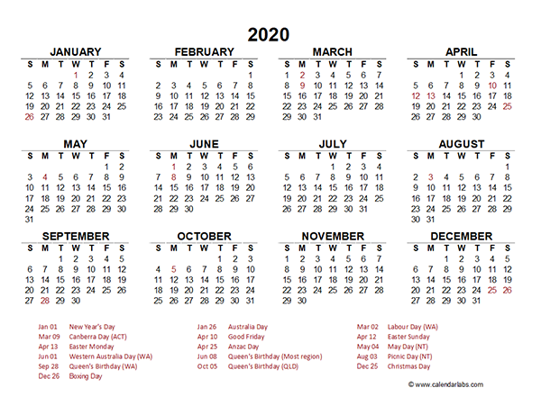 2020 Australia Yearly Calendar Template Excel