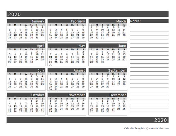 2020 Blank 12 Month Calendar in One Page