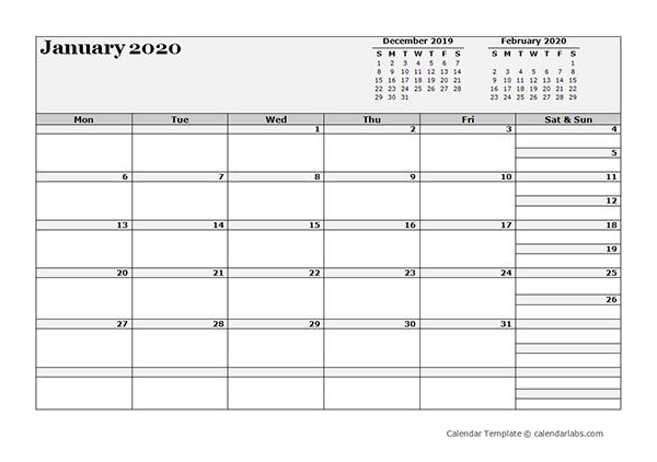 2020 Blank Three Month Calendar