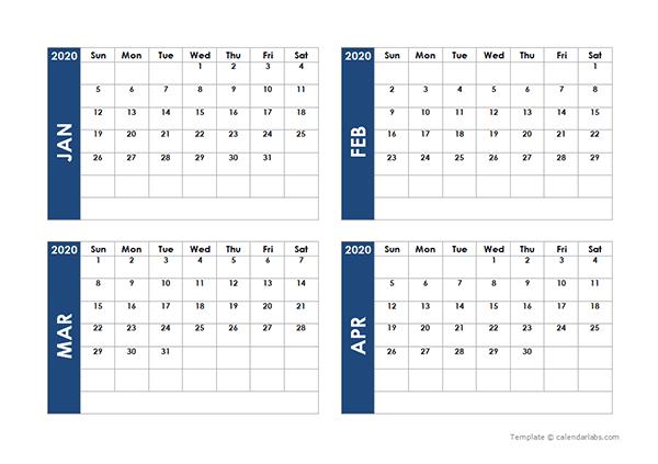 2020 Blank Four Month Calendar