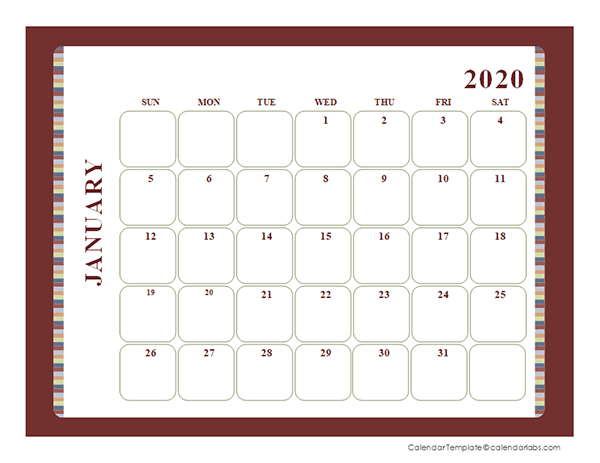 2020 Blank Calendar Large boxes Template