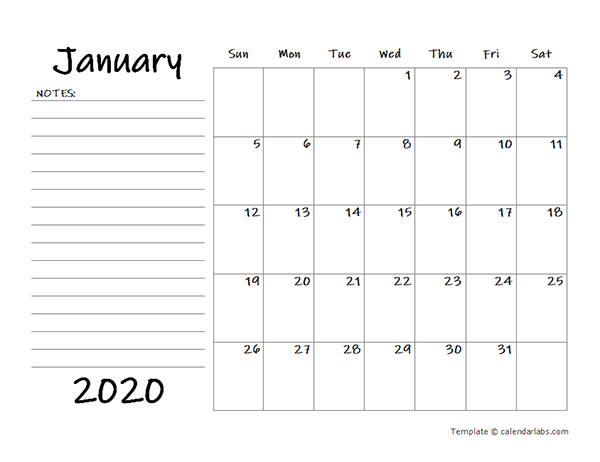 2020 Blank Calendar Template with Notes