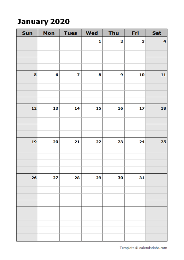 2020 Blank Daily Planner