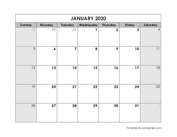 2020 Blank Monthly Calendar