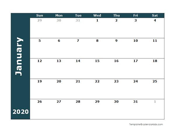 2020 Monthly Blank Calendar