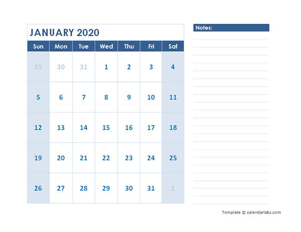 2020 Blank Printable Calendar