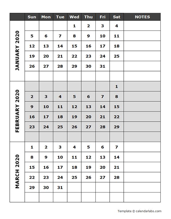 2020 Blank Quarterly Calendar