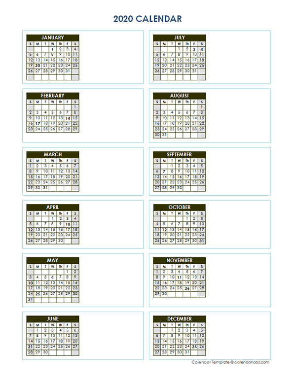 2020 Blank Yearly Calendar Vertical Template