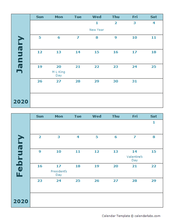 2020 Calendar Template Two Months Per Page
