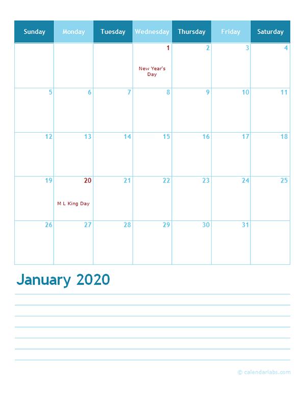 2020 Monthly Word Calendar Template