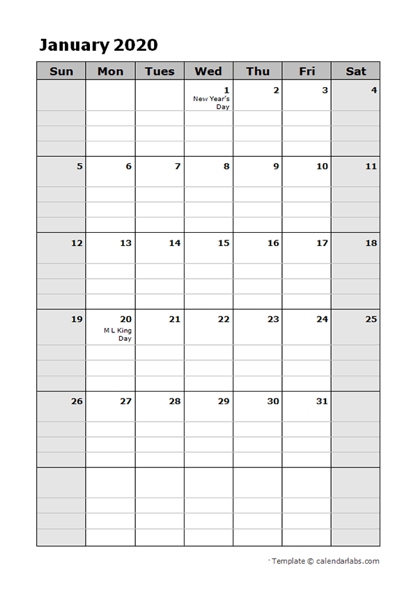2020 Daily Planner Calendar Template Free Printable Templates