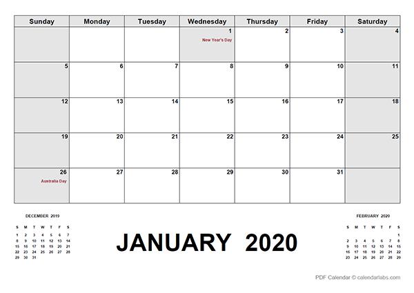 2020 Calendar with Australia Holidays PDF
