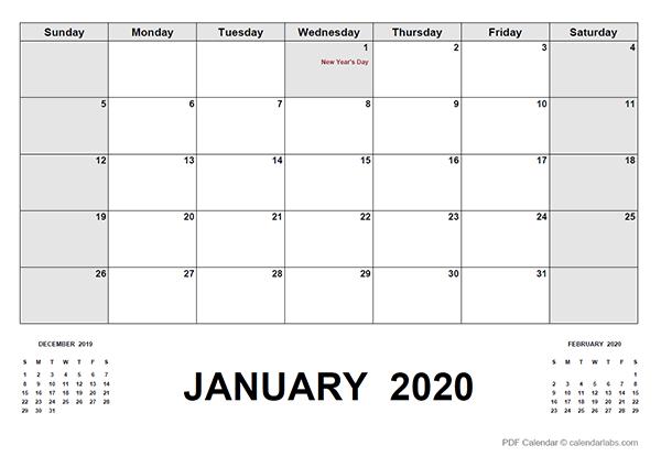 2020 Calendar with Canada Holidays PDF