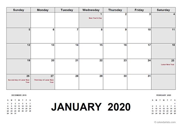 2020 Calendar with Hong Kong Holidays PDF