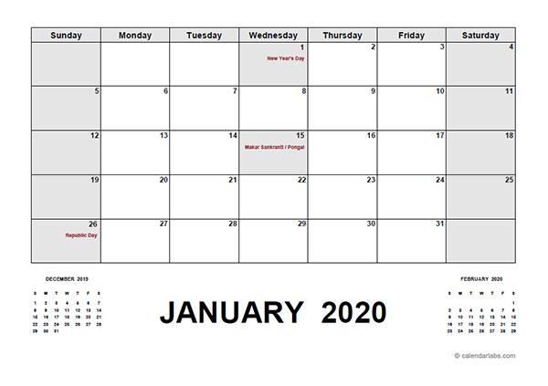 2020 Calendar with India Holidays PDF