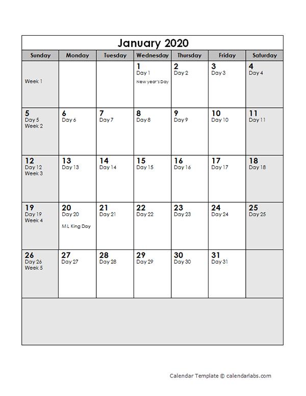 2020 Calendar with Julian Dates